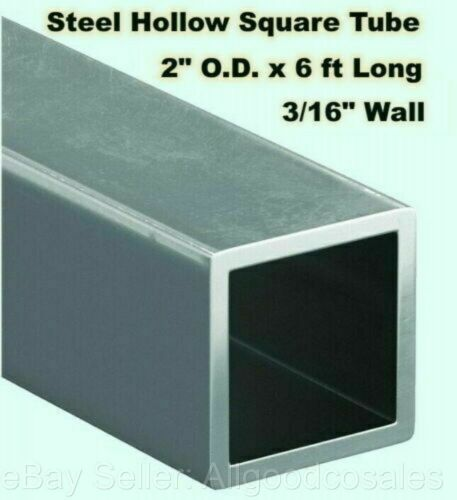 "Steel Square Tube Hollow  2"" O.D. x 6 ft Long  3/16"" Wall  Carbon 1015 Alloy"