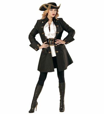Schwarzer DAMEN Mantel mit goldenen Knöpfen Piratin Fluch der Karibik Jacke ()