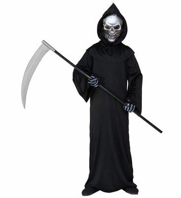 3-teiliges Kinder Kostüm Grim Reaper Sensenmann Totenkopf Halloween Jungen - Grim Reaper Kostüm