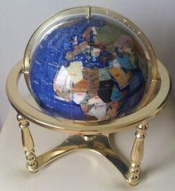 Large Gemstone Globe With Semi Precious Stones & Compass