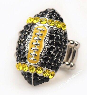 Pittsburgh Steelers NFL Fan Black Yellow Rhinestone Football Womens Girls Ring - Pittsburgh Steelers Rings
