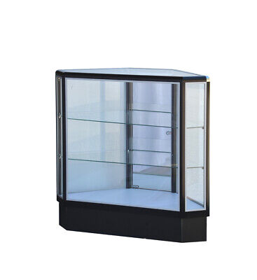 Black Hexagonal Corner Showcase 20l X 20w X12d X 38h Frame Shelf Retail Store