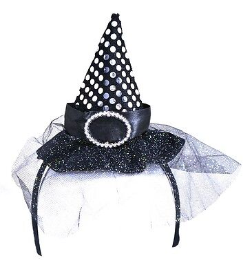 Witch Hat Headband (Black/Purple or Black), Accessory, - Halloween Witch Hat Headband
