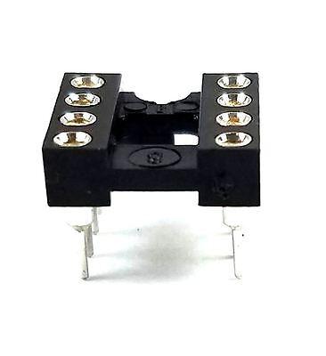 10pcs Dip-8 Ic Sockets Machined Round Contact Pins Holes Pitch 2.54mm Dip8 Dip 8