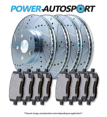 (FRONT + REAR) POWER DRILLED SLOTTED PLATED BRAKE ROTORS + CERAMIC PADS 56557PK