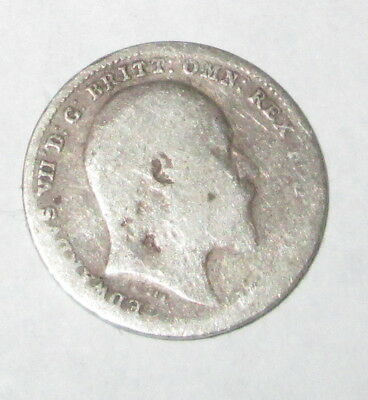 EDWARD VII 1909 SILVER THREEPENCE COIN.