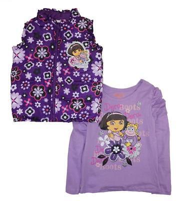 Dora The Explorer Girls Purple Vest & Top Set Size 12M 18/24M 2T/3T 4T/5T