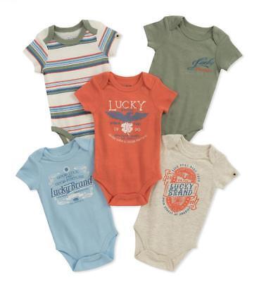 Lucky Brand Infant Boys 5 Pack Orange & Olive Bodysuits Size 0/3M 3/6M -