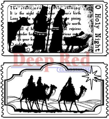 Deep Red Rubber Cling Stamp Tickets to the Nativity Holiday Holy Night - Nativity Cling Stamp