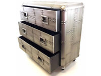 Industrial Metal Drawers Ideal Storage - 3 Individual Drawers Can Be Used As Bedside Tables