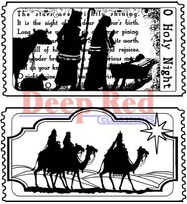Deep Red Stamps Tickets to the Nativity Rubber Cling Stamp - Nativity Cling Stamp