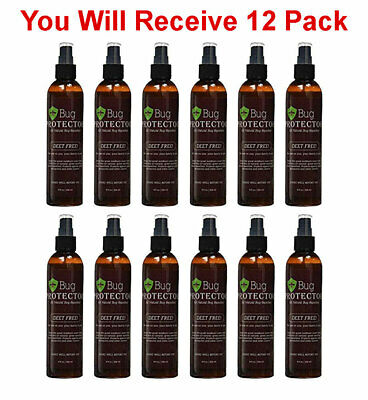 12x Bug Protector Natural Insect Repellant Spray Deet Free Flies Mosquito 8oz - Fly Free Spray Repellent
