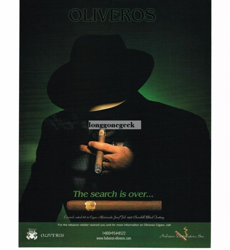 1998 Oliveros Coronel Cigars shadowy mysterious man Vintage Ad