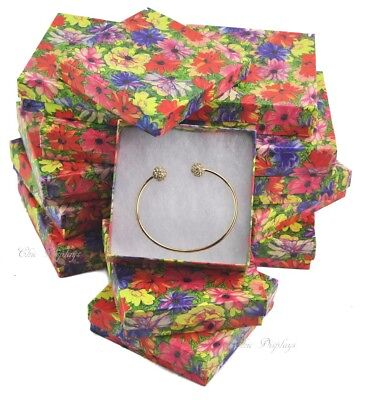 "LOT OF 12 FLORAL COTTON FILLED BOXES JEWELRY GIFT BOXES BRACELET BOXES 3.5""x3.5"""