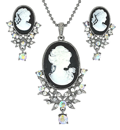 Almost Maching Lady Profile Cameo 4 Color Crystal Necklace Earrings Set(NE1052)