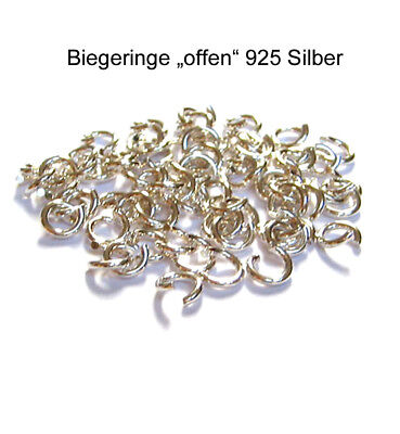 10 Biegeringe Ringe 3,7 mm 925 Silber Schmuckzubehör Schmuck basteln