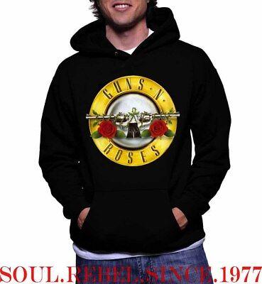 GUNS AND ROSES  HOODIE PUNK ROCK BLACK METAL MEN'S SIZES Hoodie Mens Black Guns