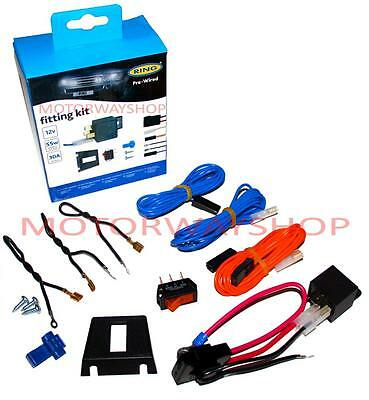 Driving Fog Lamp Light Wiring Kit Fast Fit Pre Wired With Relay & Switch Ring