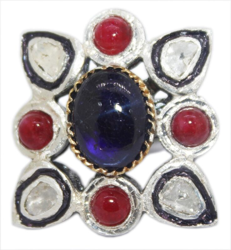 Jewelry & Watches 925 Sterling Silver Antique Rose Cut Polki Victorian Vintage Diamond Ruby Ring