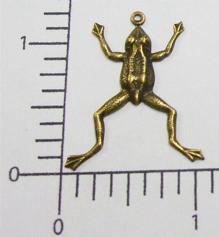 48853       3 Pc Brass Oxidized Small Frog Jewelry Finding Charm