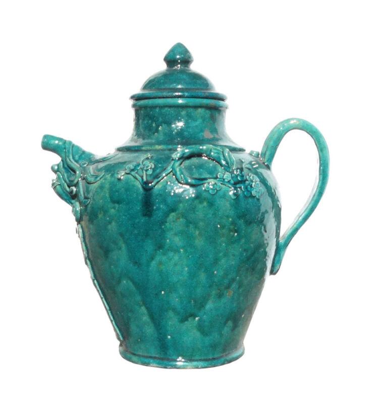 Chinese Handmade Ceramic Green Glaze Wine Container Jar cs1086