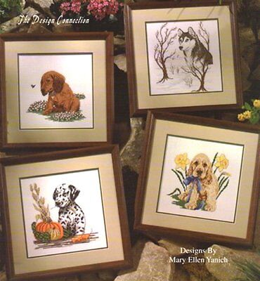 Design Connection CANINE COMPANIONS 4 Cross Stitch Charts/Leaflet~ seasons, dogs - Seasons Chart
