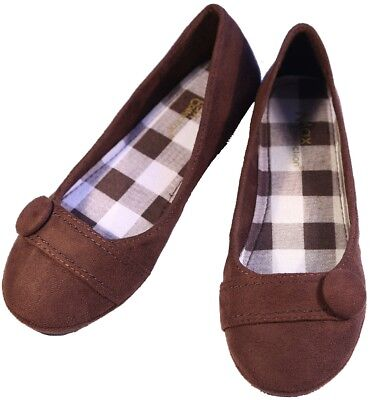 NEW WOMENS FAUX SUEDE BALLET FLAT ROUND TOE CASUAL SHOES CHECKER SHOES ()