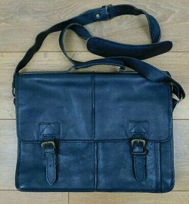 HIDESIGN Black Leather Briefcase Satchel Work Laptop Shoulder Bag