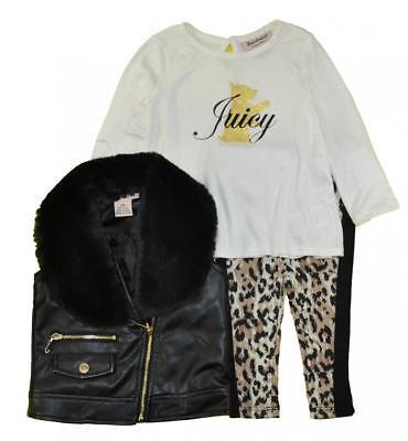 Juicy Couture Infant Girls Black Vest 3pc Set Size 3/6M 6/9M