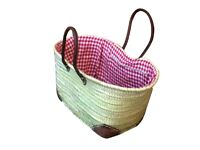 Picnic Basket Leather Handles Cotton Red White Gingham