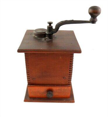 Antique Primitive Wooden Coffee Mill Grinder