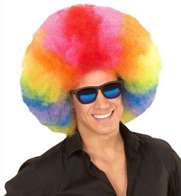 Parrucca gigante afro arcobaleno multicolor clown
