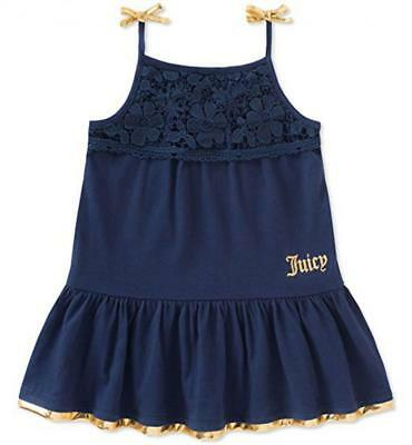 Juicy Couture Girls Navy & Gold Dress Size 2T 3T 4T 4 5 6 6X - Blue Girls Dress