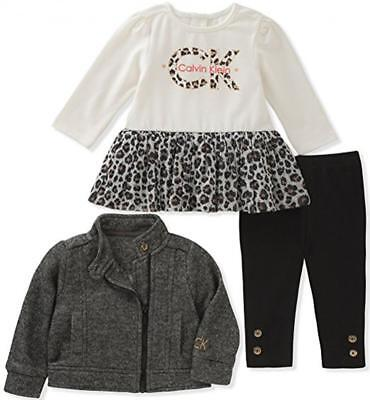 Calvin Klein Infant Girls Jacket 3pc Legging Set Size 3/6M 6