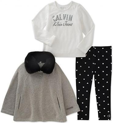 Calvin Klein Infant Girls Poncho 3pc Legging Set Size 3/6M 6