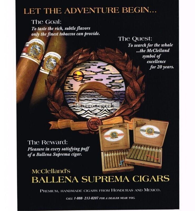 1997 McClelleand Ballena Suprema Cigars Vintage Print Ad