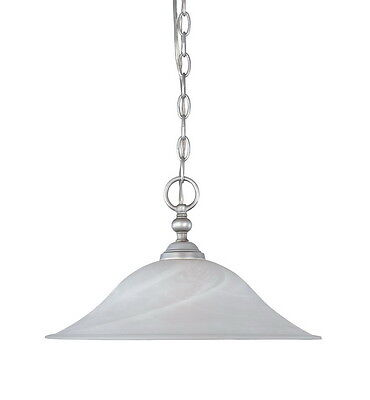 Matte Pewter And Alabaster Glass Chandelier/Pendant 15.25