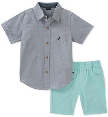 Nautica Boys Striped Blue Woven Shirt 2pc Short Set Size 2T 3T 4T 4 5 6 7 $55