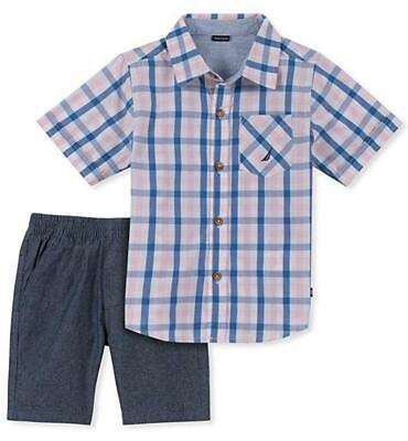 Nautica Toddler Boys Blue & Pink Shirt 2pc Short Set Size 2T 3T 4T $59.50