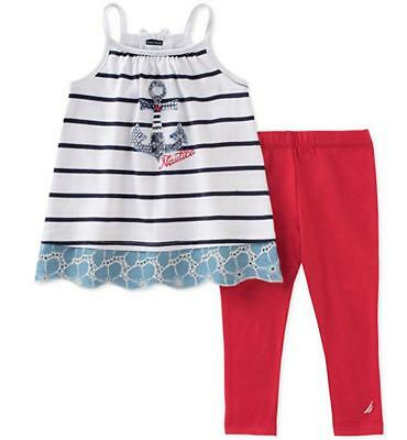 Nautica Infant Girls Sleeveless Tunic 2pc Legging Set Size 12M 18M 24M $50