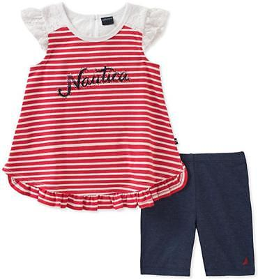 Nautica Infant Girls Red Striped Tunic 2pc Short Set Size 12M 18M 24M $50