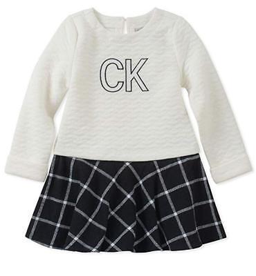 Calvin Klein Girls Vanilla & Black Dress Size 2T 3T 4T 4 5 6 6X (Black Dresses Girls)