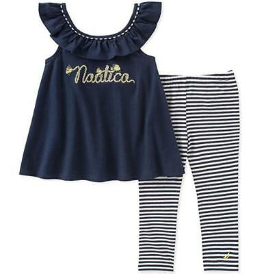 Nautica Infant Girls 2pc Navy Blue & White Legging Set Size 12M 18M 24M $50