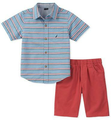 Nautica Boys Blue Woven Shirt 2pc Short Set Size 2T 3T 4T 4 5 6 7 $55