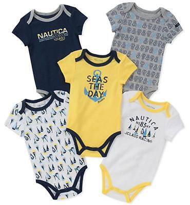 Nautica Infant Boys 5 Pack Navy & Yellow Bodysuits Size 0/3M 3/6M 6/9M $42