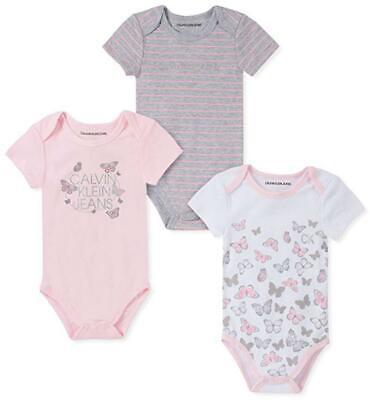 Calvin Klein Infant Girls Three-Pack Bodysuits Size 0/3M 3/6M 6/9M 12M 18M $42 Baby Three Pack Bodysuits