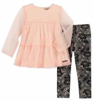 Calvin Klein Girls Light Pink Tunic 2pc Legging Set Size 2T
