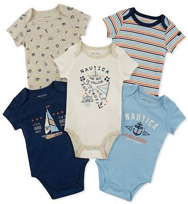 Nautica Infant Boys 5 Pack Navy & White Bodysuits Size 0/3M 3/6M 6/9M $42