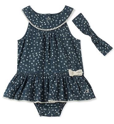 Calvin Klein Infant Girls Sunsuit W/Headband Size 0/3M 3/6M