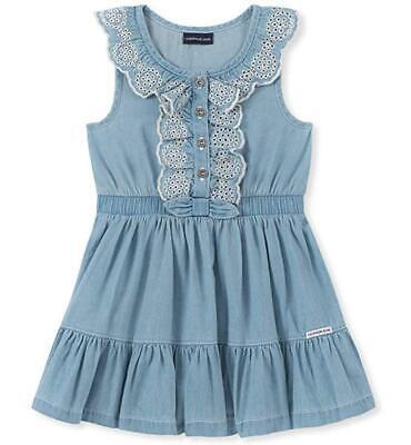 Calvin Klein Girls Light Blue Wash Denim Dress Size 2T 3T 4T 4 5 6 6X - Girls Light Blue Dress